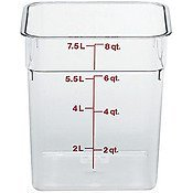 Cambro CamSquare Food Container Translucent, 8 qt (Case of 6)