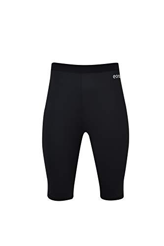 Eono Essentials Yoga-Shorts aus 4-Wege-Stretch für Damen, bis zur Mitte der Oberschenkel reichend (Schwarz, Größe M)
