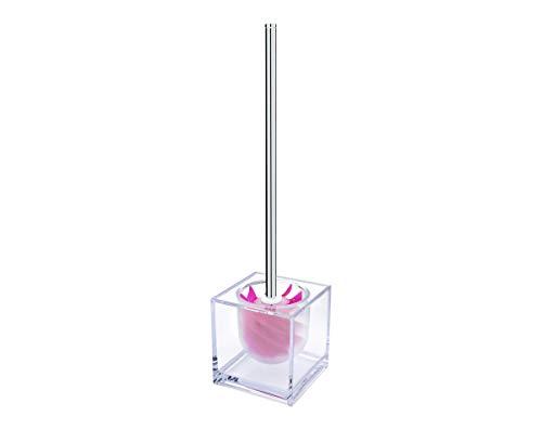 SANWOOD WATERCLOU Innovative WC-Bürstengarnitur Silikon ohne Borsten Edelstahl-Stiel Behälter Acryl transparent mit Sichtschutz pink
