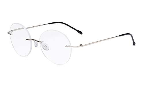 Eyekepper Randlose Brillen Damen - Runde Randlose Brillen Herren Silber +2.00