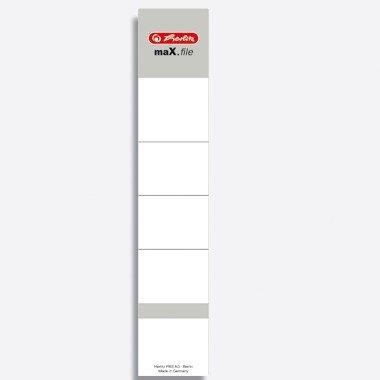 Herlitz 5966056 Rückenschild 36 x 190 mm für 5 cm-Ordner, selbstklebend, 10 Stück, weiß