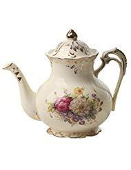 Sträucher Bild Elfenbeinfarben Keramik Tee Topf, Vintage Floral Teekanne, Handbeil