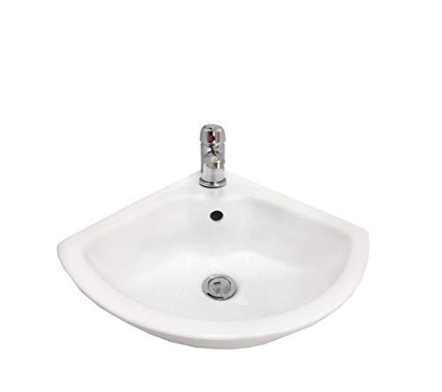 Lavandino da bagno in ceramica angolare a parete 1Tap Hole 46cmx46cm x24 con miscelatore e scarico