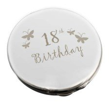 18th Butterfly Round Compact by Pmc - Personalised Compact Mirrors