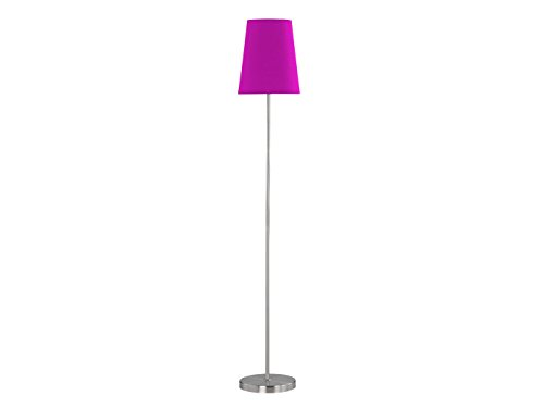 ACTION by WOFI Troja Standleuchte Serie: Fynn Nickel matt Farbe (Schirm): Violet 1x E27 60 Watt Höhe: 150 cm/Ø: 25 cm, Metall^Stoff, W, Lila, 25 x 25 x 150 cm