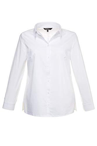 Ulla Popken Damen große Größen bis 60 | Bluse, Langarm Shirt | Hemdkragen, Seitenschlitze & Knopfleiste | Manschetten | weiß 44 714168 20-44