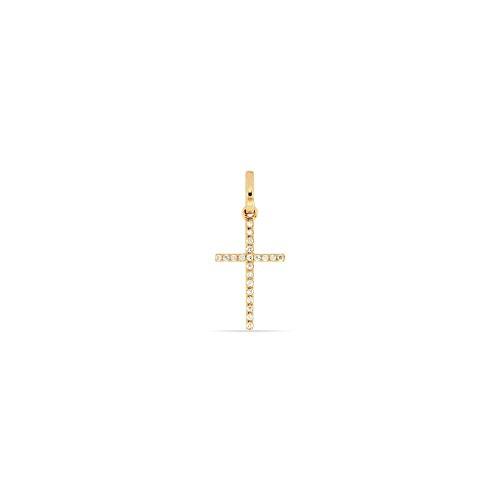 Juwelier Gelber Anhänger Diamant Kreuz 750/000 18 Kt Rot Gold 10x15mm 21 Brillanten Weiß SI