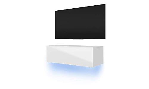 Selsey - Lana - Meuble TV suspendu / Table Basse TV / Banc TV de Salon (100 cm, Blanc Mat / Blanc Brillant avec LED bleue)