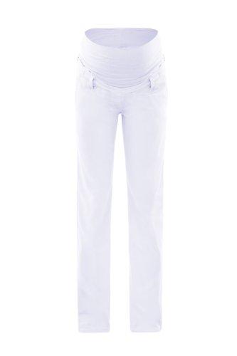 Damen Leinen Schwangerschaftshose Umstands Hose mit Bauchband (XS (32-34), white (leinen)) (Hose Leinen Gewaschenes)