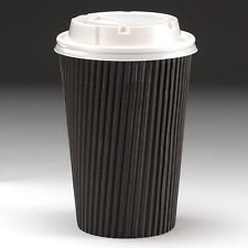 12oz Black Ripple Disposable Hot Beverages Takeaway Coffee Cups (100 Cups with Sip Lids)