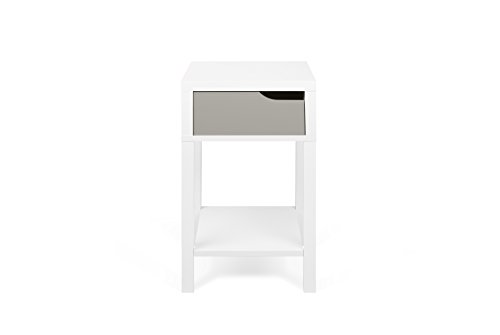 TemaHome Basics Table de Chevet Table de Nuit, 34 x 34 x 58,7 cm, Blanc/Gris