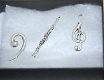 Boxed Gift Set of 3 Pewter Pin Badges-Music Clarinet, Treble Clef, Bass Clef,