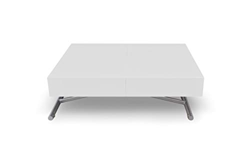 Menzzo Table Basse Relevable Extensible Blanche Laquee Table