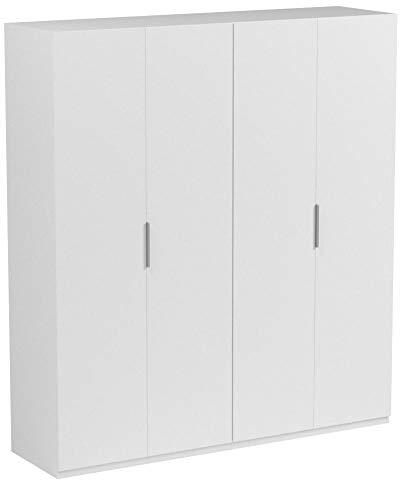 Habitdesign MAX054BO - Armario 4 puertas, color Blanco Brillo, medidas 200 x...