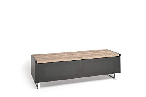 Techlink Panorama-TV-Ständer/TV-Möbel für Wohnzimmer mit herunterklappbaren Infrarot-Glastüren und Soundbar-Ablage - für Bildschirme bis 152,4 cm - Samsung, Sony, LG, Panasonic und mehr (Techlink Tv Stand)