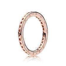 Pandora Ring 187133-52 Signature Hearts of Gr 52