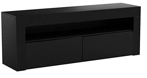 """E-Com - Meuble TV """"Luna"""" 140 cm Noir Mat Avec Façade Noire Brillante (Sans Lumières LED RGB)"""
