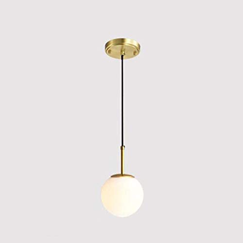 GJX Nordic Pendant Light, Eclipse 3-Globe Lámpara de Techo de latón con Globos de Cristal Esmerilado, salón Dormitorio salón Comedor lámpara de suspensión, E14 (sin Fuente de luz)