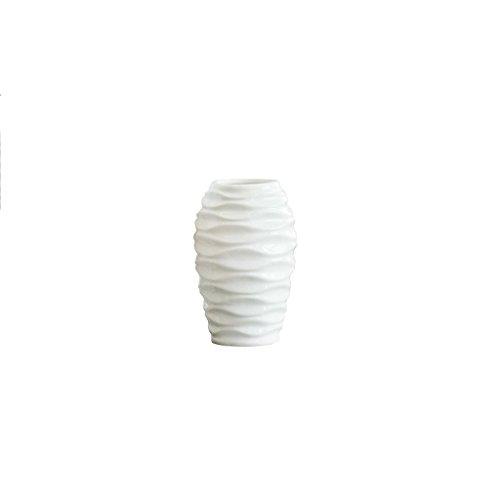 Vase en céramique Blanc ondulé Moderne Minimaliste Salon décoration Table à Manger Bureau Table Basse décorations ZHAOJING (Taille : A-13 * 20cm)