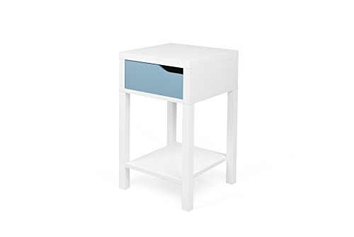TemaHome Basics Table de Chevet Table de Nuit, 34 x 34 x 58,7 cm, Blanc/Bleu