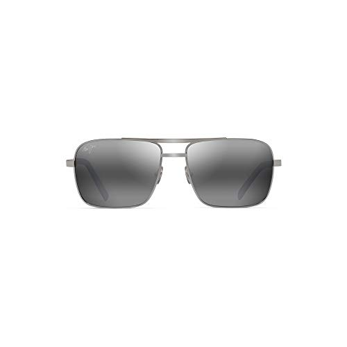 Maui Jim 714-17 Silver Silver Compass Square Pilot Sunglasses Polarised Lens Category 3 Lens Mirrored Size 60mm