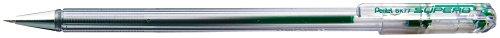 Pentel-D Super BK77 Kugelschreiber, Metallspitze, mittel, fein, Grün, mit Kappe grün 12 Stück -