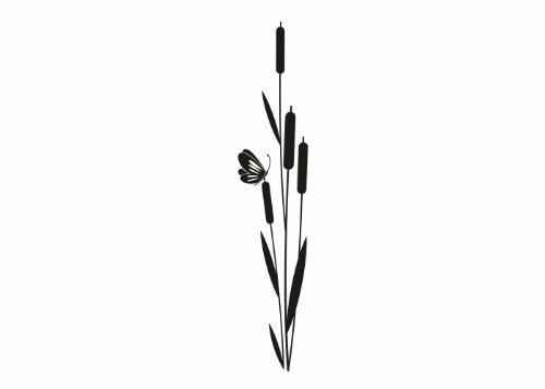 Wandtattooladen Wandtattoo - Schilfrohr Größe:24x120cm Farbe: dunkelgrün