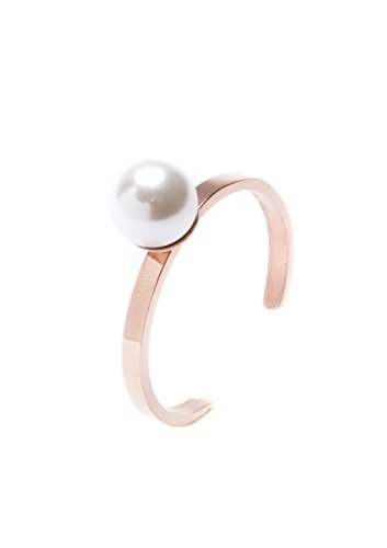 Happiness Boutique Damen Minimalist Ring in Rosegold | Offener Ring mit Weißer Perle Stapelring