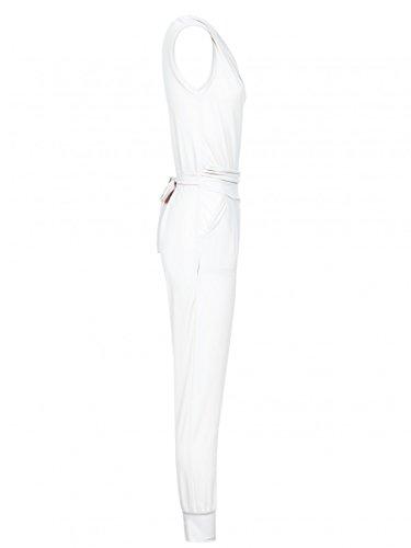 Laeticia Dreams Damen Jumpsuit Catsuit Einteiler Hose Wasserfall Overall S M L XL Weiß