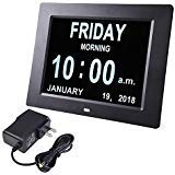 "Yescom 8"" Large Digital LED Day Clock 6 Alarm Options Dimmable Calendar"