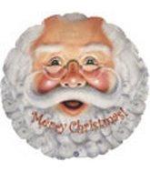 Unbekannt Weihnachtsfolienballon Weihnachtsmann mit Brille und Bart Gesicht rund ca. 45 cm