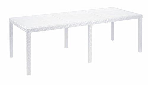 Esidra Allungabile Made in Italy, Polipropilene 220 Cm, Giardino Effetto Rattan, Tavolo da Esterno, 220 x 90 x 72 (Bianco)
