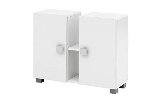 lifestyle4living Waschbeckenunterschrank für das Bad in Weiß | Badunterschrank mit 2 Türen und 2 offenen Fächern