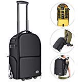 Neewer 2-in-1 Fahrbarer Kamera-Rucksack, Anti-Schock abnehmbare gepolsterte Tasche, versteckte Zugstange und Band, wasserdicht für DSLR-Kameras, Stativ, Objektiv für die Flugreisen