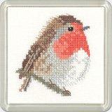 NEW HERITAGE Crafts Aida 14fils/cm² Motif Little Friends Kit de Robin Oiseau mignon Animaux Kit point de croix compté
