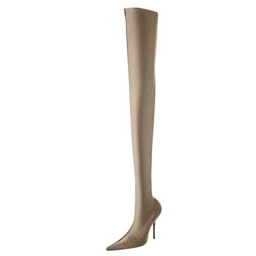 Deloito Damen Sexy Lange Boots Schlank über die Knie Stiefeletten Ultrahoher Absatz Freizeit Schuhe Komfortabel Stretch Kniestrümpfe Stiefel (Khak,35 EU) -
