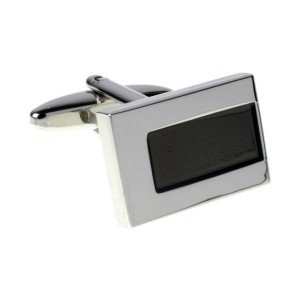 Silver and Black Rectangle Cufflinks