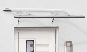 Alu-Rundbogenvordach Swing silber Haustürvordach 160 x 87 x 27 cm