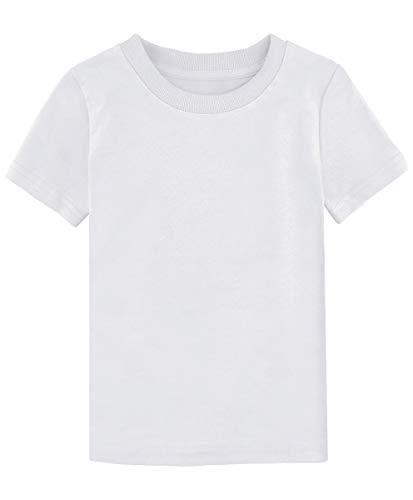 MOMBEBE COSLAND Camisetas Blanca Niños Corta Algodón T-Shirt (Blanca, 6/7 Años)