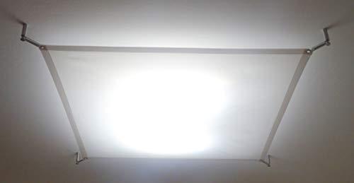 STUDIO-LICHTSEGEL SCREENBASE ca. 140x140 cm, TEXTILES DECKENSEGEL FÜR LED LAMPE und DECKENLEUCHTEN, TEXTILE LIGHT SAIL for LED PANEL (ohne Hardwareset + Lampe) -