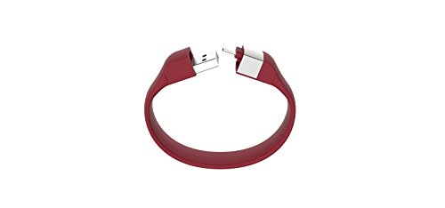 Lumdoo Classic Silicon Lightning Armband mit Datenkabel Ladekabel für Apple iPhone 5, 6S, 6S Plus, iPod nano, touch (21cm) rot (Classic Nano Armband Ipod)