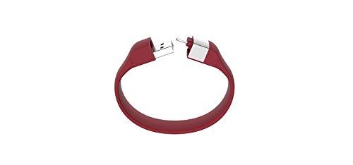 Lumdoo Classic Silicon Lightning Armband mit Datenkabel Ladekabel für Apple iPhone 5, 6S, 6S Plus, iPod nano, touch (21cm) rot (Ipod Armband Classic Nano)