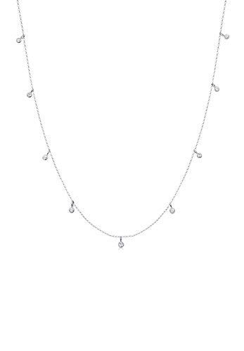 Elli Damen-Kette mit Anhänger Solitär 925 Silber Kristall weiß 45 cm - 0104772517_45