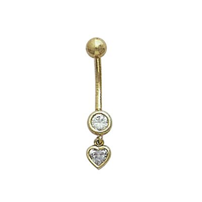 Solid Gold Heart Dangle Belly Bar