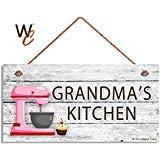 BridgetWhy50Grandma' s Kitchen Sign, Rosa Miscelatore e Cupcake Wall Art, Regalo per Nonna, 12,7x 25,4cm Segno