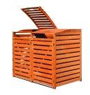 Mülltonnenbox für zwei 240 Liter Tonnen, Farbe Honigbraun