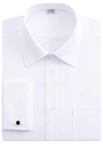 J.VER Herren Business Normale Passform Hemden Französische Manschette mit Metall-Manschettenknöpfen Lange Ärmel - Farbe:Weiß, Größe:DE 41 - Ärmellänge 84 cm