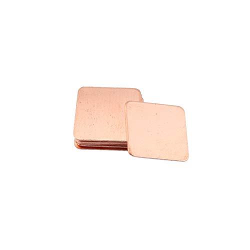 Delicacydex 10 Piezas de Cobre Puro, latón, Caldera del disipador térmico, Almohadilla térmica para la Tarjeta gráfica portátil 15x15 mm Disipación térmica rápida - Metal