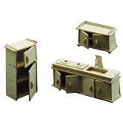 Wood Craft Assembly - Kit Meuble de Cuisine Miniature en Bois pour Maison de Poupées Echelle 1/12ème pour 6 Ans et Plus