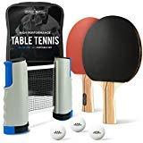 ProSpin-USA Ping Pong Paddel Set - 2 oder 4 Spieler - Hochleistungs-Tischtennisschläger, Pro Trainingsbälle, Reisetasche, 2-Player with Portable Net